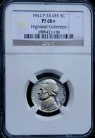 1942 JEFFERSON SILVER NICKEL TYPE TWO 2 NGC PF68 PR68 STAR PRICE GUIDE   $7,000