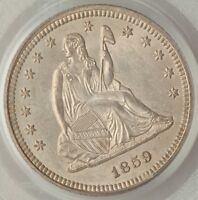 1859 SEATED LIBERTY QUARTER PCGS MS64   R7.8 IN UNC   PCGS POP 37/12