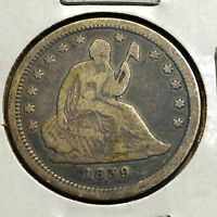 1839 SILVER SEATED LIBERTY QUARTER FROM OLD TYPE COIN COLLECTION