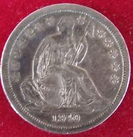 1840 LIBERTY SEATED DIME VARIETY 2  VF XF  GREAT TYPE COIN