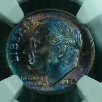 TONED 1954 D ROOSEVELT MS 67 FT NGC