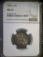 1860 SEATED LIBERTY QUARTER NGC GRADED MS 63 ONLY 17 GRADED HIGHER