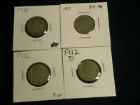 FOUR 4 LIBERTY NICKELS GOOD - FINE    -  1910. 1911, 1912, 1912-D     C5