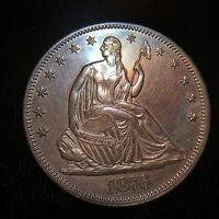 1876 P SEATED HALF DOLLAR PROOF SILVER LIBERTY COLOR 50C CENT FEW MINTED