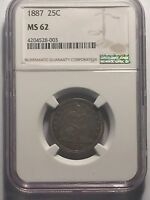 1887 SEATED QUARTER NGC MS62  DATE MINT STATE