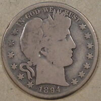 1894 BARBER HALF DOLLAR G OLD RIM BUMP AT 10:00 ON THE OBV.