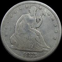 1875 SEATED LIBERTY HALF DOLLAR  VF DETAILS