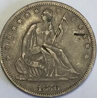 1876 CC SEATED HALF XF DETAILS CARSON CITY