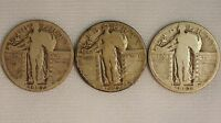 1927- P-D-S STANDING LIBERTY SILVER QUARTERS 3 COIN YEAR SET- 25C