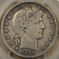 1894 BARBER HALF DOLLAR PCGS VF 30 BETTER DETAILS ORIGINAL WITH RIM BUMP