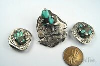 UNUSUAL ANTIQUE SPANISH COB COIN EARRINGS BROOCH SET W/ TURQUOISE MATRIX C1600S