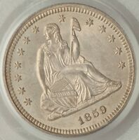 1859 SEATED LIBERTY QUARTER CERTIFIED PCGS MS64   R7.8 IN UNC   PCGS POP 37/12