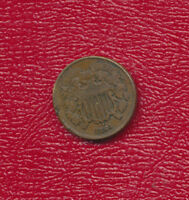 1864 TWO CENT PIECE -  EXTRA FINE  SHIPS FREE