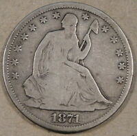 1871 S LIBERTY SEATED HALF DOLLAR DECENT TOUGHER TO FIND FULL RIM COIN