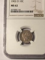 1902 O BARBER DIME NGC MS62 NEW ORLEANS