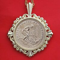 US 2009 NATIVE AMERICAN SACAGAWEA DOLLAR BU UNC COIN GOLD PLATED NECKLACE NEW