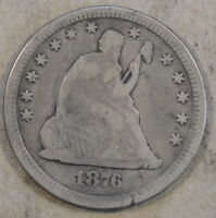 1876 CC LIBERTY SEATED QUARTER MID GRADE COIN OLD DIP AND SOME LIGHT SCRATCHES