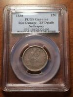 1838 SEATED LIBERTY QUARTER 25C NO DRAPERY PCGS XF DETAILS CRUSTY & ORIGINAL