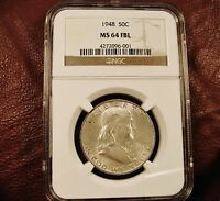 1948 FRANKLIN HALF DOLLAR NGC MS64 FBL   FULL BELL LINE  KEY DATE  SHIP FREE