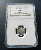 1880 VICTORIA THREEPENCE UNC  IN THIS GRADE