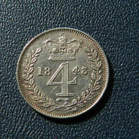 1843 VICTORIA MAUNDY FOURPENCE AUNC