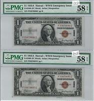 1935 A $1 WWII EMERGENCY ISSUE SILVER CERTIFICATE AU 58 EPQ FR. 2300 2 NOTE SET