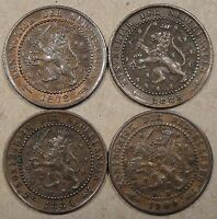 NETHERLANDS 4 CENTS 1878,83,84,1900 BETTER GRADES AS PICTURED