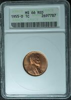 1955 D MS66 RD ANACS LINCOLN CENT