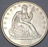 1857 O SEATED HALF UNC DETAILS