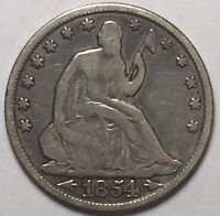1854 O SEATED HALF DOLLAR FINE DETAILS F US COIN LOT 111