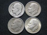 LOT OF 4 ROOSEVELT DIMES 1949 P 1949 S 1950 S 1951 S KEY DATES SILVER COLLECTION