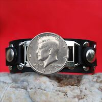 1977 US KENNEDY HALF DOLLAR COIN STUDDED LEATHER BRACELET NOS