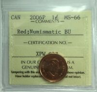 2006P CANADIAN ONE CENT ICCS GRADED MS 66; RED;  NBU
