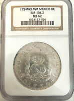 1754MO MM MEXICO 8R NGC MS62. IMPERIAL CROWN LEFT PILLAR