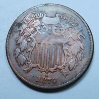 1870 TWO CENT PIECE 2 CENT // AU ALMOST UNCIRCULATED // TC1434