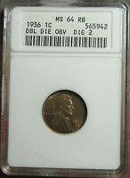 1936 DDO LINCOLN CENT OLD ANACS MS 64 RB TOUGH REDBOOK VARIETY FS 102