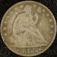 1855 NEW ORLEANS HALF DOLLAR SEATED LIBERTY WITH ARROWS