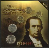SERBIA OFFICIAL CENTRAL BANK MINT SET 2007. 5 COINS 1 2 5 10 20 DINARA