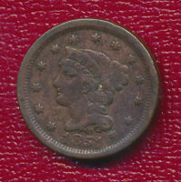 1851 BRAIDED HAIR LARGE CENT COPPER COIN  NICE CIRCULATED