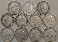 SWITZERLAND 11 FIVE RAPPEN 1900,06,07,08,09,13,17,19,20,21,25 LOW BETTER GRADES
