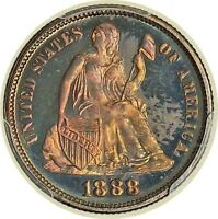LIBERTY SEATED 10C 1888 PCGS PR66 F 102A MPD WITH COLOR