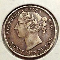 NEWFOUNDLAND 1888 STERLING SILVER 20 CENTS HIGH GRADE LOW MINTAGE