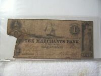 OBSOLETE AUTHENTIC THE MERCHANTS BANK $1 CURRENCY NOTE 1862 BALTIMORE MARYLAND
