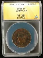 1826 US LARGE CENT CORRODED ANACS  FINE 35 DETAILS