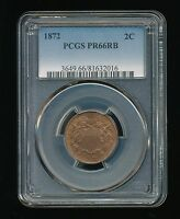 1872-P TWO CENT PIECE 2C PCGS PROOF PR 66 RED BROWN RB  LOW MINTAGE