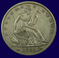 SEATED LIBERTY SILVER HALF DOLLAR. 1842 O. MEDIUM DATE. EF. LOT  633 087