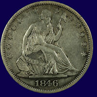 SEATED LIBERTY SILVER HALF DOLLAR. 1846 O. MEDIUM DATE. EF. LOT  633 137