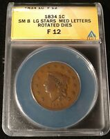 1834 US LARGE CENT LG STARS MED LETTERS ROTATED DIES ANACS FINE 12 -   COIN
