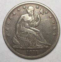 1873 SEATED HALF DOLLAR AU DETAILS NO ARROWS US COIN LOT 104