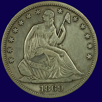 SEATED LIBERTY SILVER HALF DOLLAR. 1869 S. EF. LOT  633 117